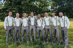 Groomsmen in Gray Pants and striped suspenders - if you go with this look, you need to make sure the guys have a heavy cotton shirt, these look too thin