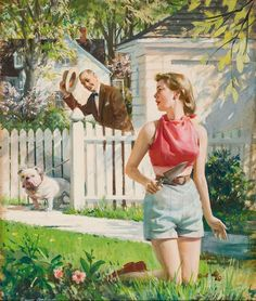 Suburban Heaven or Hell? illustration by Harry Anderson. I vote Heaven! Art Vintage, Vintage Romance, Retro Art, Vintage Images, Vintage Paintings, Retro Images, Vintage Pictures, Norman Rockwell, Harry Anderson