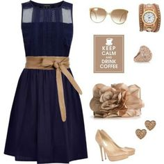Blue navy & nude...despite the heart earrings, i love this!