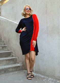 Now selling: Red Navy Maxi Dress / Navy Viscose Dress / Bicolor Dress /…… - http://makeupaccesory.com/now-selling-red-navy-maxi-dress-navy-viscose-dress-bicolor-dress/