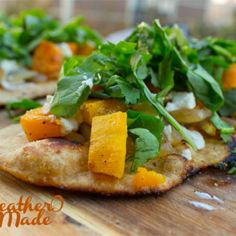 Roasted Butternut Squash & Caramelized Onion Flatbread with Goat Cheese & Greens