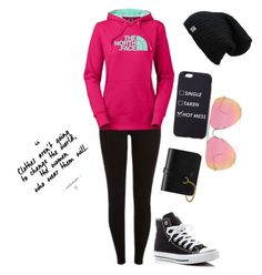 .... by elainia on Polyvore featuring polyvore fashion style The North Face Converse Mulberry Quay clothing