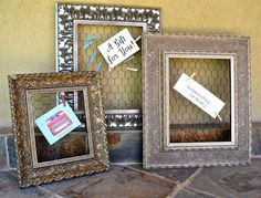 Ornate Old Gold Chicken Wire Frame and Memo by ReinventingOrdinary, $28.00