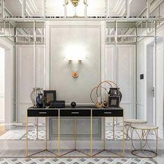 Apartment Entrance, Home Entrance Decor, Entrance Design, Home Decor, Classic House, Modern Classic, Dressing Table Desk, Wall Finishes, Art Deco Furniture