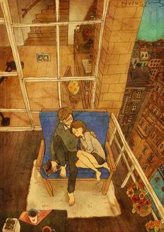 Ilustración de puuung donde la pareja esta sentada abrazándose en el balcón