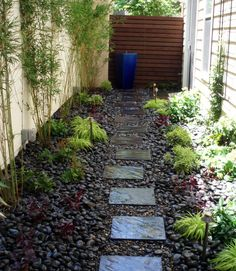 No-Mow Side Yard ~A narrow garden with an eyecatching blue fountain as the focal point.