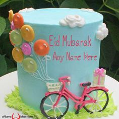 Write name on Cute Bicycle Eid Wish Name Cake with Name And Wishes Images and create free Online And Wishes Images with name online. - Happy Eid Mubarak Wishes  IMAGES, GIF, ANIMATED GIF, WALLPAPER, STICKER FOR WHATSAPP & FACEBOOK