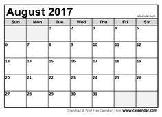 August 2017 Calendar Printable  http://socialebuzz.com/august-2017-calendar-printable-template/