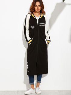 7a859c03265 Cartoon Print Striped Raglan Sleeve Longline Baseball Jacket Sport Chic