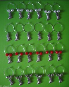 Wine Glass charms, Christmas themed charms Red, White & Silver Set of 6 charms