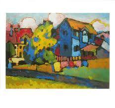 """Murnau mit blauem Haus"" 1908, Private Collection Landscape Paintings, Inspiration, Painting, Wassily Kandinsky, Art, Kinder Art, Color, Landscape Art"