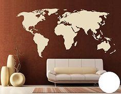 Design4Wall 1092 Sticker mural Mappemonde L x H: 60cm x 30cm Couleur: blanc (disponible en 24 couleurs et de nombreuses tailles)