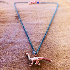 Excited to share the latest addition to my #etsy shop: Dinosaur Charm Rose Gold Charm Nevklace Turquoise Chain Nickel Free Hypoallergenic #jewelry #necklace #rosegold