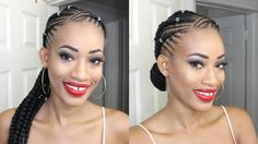 Jumbo Braids style | Feed -in Braids | Ghana Braids - YouTube