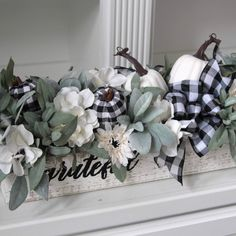 Buffalo check and white pumpkin arrangement in a long wood box. Pumpkin Arrangements, Fall Floral Arrangements, Dusty Miller, White Pumpkin Decor, Chalk Crafts, Flower Decorations, Fall Decorations, Pedestal, Diy Fall Wreath