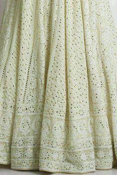 Luchnowi Chikankari Mukesh Work with Gotta work Lehenga Indian Bridal Outfits, Indian Designer Outfits, Designer Dresses, Long Choli Lehenga, Lehnga Dress, Pakistani Dresses, Indian Dresses, Lengha Blouse Designs, Desi Wedding Dresses