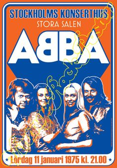 poster 720 ABBA Stockholm Sweden 11 january 1975 by Mokusaiya Tour Posters, Band Posters, Music Covers, Album Covers, Abba Concert, Music Collage, Vintage Concert Posters, Vintage Music, Graphic Design Posters