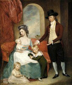 1793 Joseph Wright (American artist, 1756-1793). The Wright Family (Joseph & Sarah with children Harriet, Sarah, & Joseph).