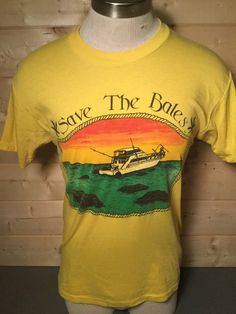 Vintage 1980's Save the Bales Florida Surfing Tourist 50/50 T-Shirt Great Color Made in USA by 413productions on Etsy