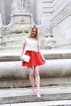 Caitlin Hartley of Styled American pink christian louboutin pumps with a full skirt http://styledamerican.com/red-x-pink/