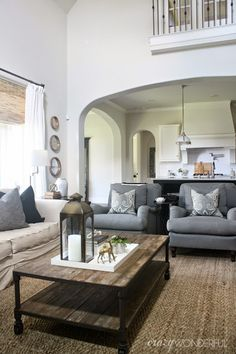 Love the wood accents and color palette Home Inspirations