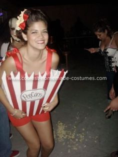 Homemade Popcorn Halloween Costume: I decided I wanted to go as an original Homemade Popcorn Halloween Costume made of a red striped bag of popcorn. I made the front and back pieces out
