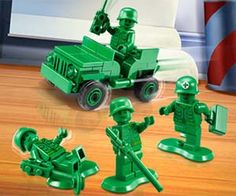 LEGO Army Men Command the respect of your very own battalion when you enlist the LEGO Army men to aid in your make-believe adventures. Modeled after the soldiers from Toy Story, these tiny green men valiantly follow you until the mission is completed, or playtime is over. Buy It $29.16 + Add to Wish List