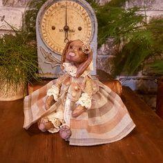 Handmade Bunny - Handmade Art Doll - Artistic Doll - Handmade - Doll - Collectible - Old Fashioned - OOAK Doll - Bunny - Miniature - by Rustiikkitupa on Etsy Ooak Dolls, Art Dolls, Tiny Bunny, Primitive Painting, Hand Shapes, Paper Clay, Fabric Dolls, Handmade Art, Beautiful Dolls