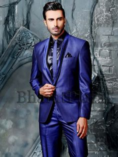 Charming royal blue color silk #Blazer having velvet lapel and one button. Item Code: TSP2730 http://www.bharatplaza.com/new-arrivals/mens-suits.html