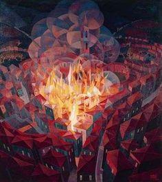 L'incendie de la cité, par Gerardo Dottori Vue du dessus, toîts rouges, fumée représentée par des cercles transparents, contraste sombre arrière plan et feu lumineux