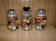 EPier   Mickey Mouse Parts Hand Painted Jars Trio