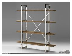 Provence Bookshelf Reclaimed Solid Wood W. Stainless Steel by Mobital | WWUPROVWOODSTEEL | Mobital