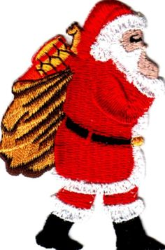 """[Single Count] Custom and Unique (3"""" x 2 1/4"""" Inches) Seasonal Holiday Festive Santa Clause & Sack of Presents Iron On Embroidered Applique Patch {Red, White & Gold Colors}"""
