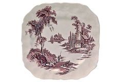 Transferware Lake Scene Plate made in England by Johnson Brothers