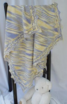 Filigree Lace-edged Baby Blanket. HeartStrings knitting pattern #H55 - pattern for purchase