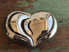Vintage Silver Tone Heart Shape Belt Buckle Sash Buckle by Holliezhobbiez on Etsy