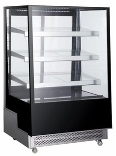 This 36 inch slanted front glass refrigerated display case provides great viewing angles with 4 sides glass and top glass. 4 levels provide plenty of room to show off all of your food product. Bakery Display Case, Display Cases, Refrigerator Cooler, Restaurants, Glass Showcase, Double Glass, Glass Shelves, Adjustable Shelving, Coffee Shop