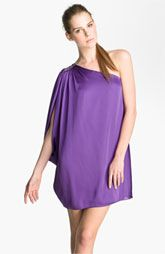 Aidan Mattox Charmeuse One Shoulder Trapeze Dress