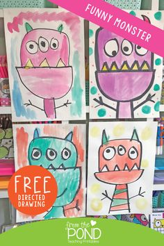 Funny Monster Directed Drawing - free download art project for kids