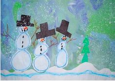 To learn how to build your own snowman, go to:  http://www.artprojectsforkids.org/2010/11/kinder-watercolor-resist-snowman.html