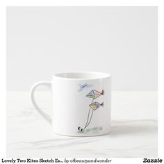 Lovely Two Kites Sketch Espresso Mug - home gifts ideas decor special unique custom individual customized individualized Simple Gifts, Love Gifts, Personalized Products, Customized Gifts, Mug Drawing, Extra Large Coffee Mugs, Mug Designs, Kite, Sketch Design