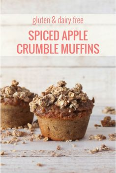 This gluten and dairy free spiced apple crumble muffin recipe is a dream for autumn! I love having them as a treat at breakfast or after tea. Gluten Free Crumble, Gluten Free Muffins, Healthy Sweet Treats, Paleo Treats, Quick Bread Recipes, Muffin Recipes, Apple Crumble Muffins, Gluten Free Deserts, Afternoon Tea