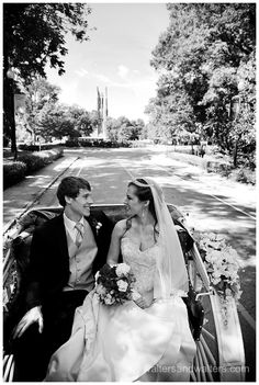 White wedding carriage ride