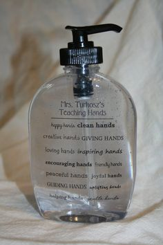 Personalized Teaching Hands Soap Dispenser by missbeesboutiqe, $6.00