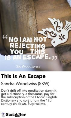 This Is An Escape by Sandra Woodiwiss (SKW) https://scriggler.com/detailPost/story/36537
