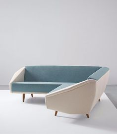 Gio Ponti; Unique 'Diamond' Sofa by Figli di Amedeo Cassina, 1960s.: Thu Bridges, Unique Diamonds, Decor, 1960S Modernhom, Diamondsofa Gioponti, Amedeo Cassina, Furniture, 1960S Officedesign Seating, White Couch