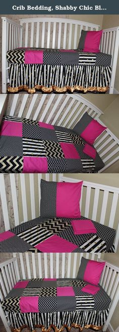 """Crib Bedding, Shabby Chic Black & Gold 5 piece set. This Shabby Chic Crib bedding set made with High Quality combed Cotton. Back of blanket is made with soft and cuddly Minky-Dot. It will make your little girl fit right in with the fashion crowd. THIS IS A MADE TO ORDER ITEM PLEASE ALLOW 5 TO 7 WEEKS FOR DELIVERY, THANK YOU. This 5 piece set Includes: 42"""" x 36"""" Blanket 15"""" Drop Bed skirt not only works when the crib is in it's highest position but will also carry through to the toddler bed…"""
