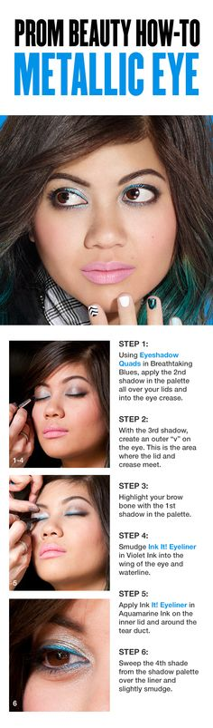 Prom Beauty How-to: Silver and Blue Metallic Eye This simple tutorial uses metallic shades of silver, grey, blue and purple to make eyes sparkle and pop—try it when you want to up the drama and stand out. Skin Makeup, Beauty Makeup, Hair Beauty, Pretty Makeup, Makeup Looks, Prom Hair Accessories, Makeup Guide, Eye Make Up, All Things Beauty