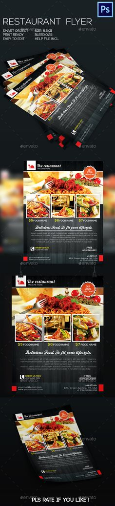 Restaurant Flyer Vol2 Brochures, Food magazine layout and Print - restaurant flyer