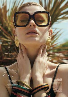 Dora Stastna Models Retro Swimwear Style in BAZAAR Turkey #miumiueditorial